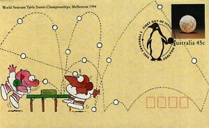 1994 7th World Veterans Table Tennis Postmark 3-2-94 Melbourne [P94-015]