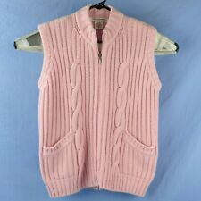 Maria Di Ripabianca Pink Cashmere Cable Knit Full Zip Sweater Vest Womens Size 6