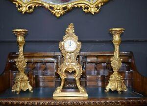 Candeliere antico barocco 2 Pz oro 1 fiamma candelabro portacandele H45 CM  R84