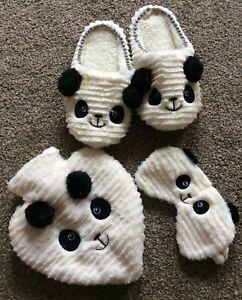 New Panda Slippers, Hot Water Bottle, Eye Mask Gift Set - Size Small