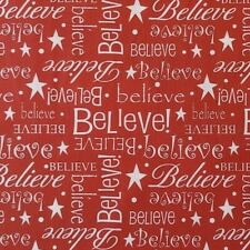 BTY Christmas BELIEVE Barn Red 100% Cotton Fabric 45
