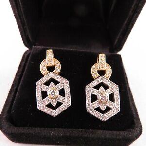 14 kt Bi-colour Gold Earrings with 96 Brilliant-cut Diamonds (1.20 ct total)