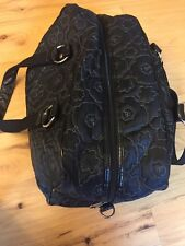 Thirty One Black Embroidered Floral Travel Overnight Duffel Bag Hostess