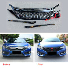 Front Grille Grill Mesh Honeycomb Style Mouldings Cover For Honda Civic 16-17