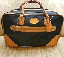 INVICTA VINTAGE  BLACK Soft Sided VINYL w TAN LEATHER  Luggage Travel Carryon