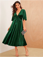 Green Pleated Sleeve Wrap Belted Velvet Cocktail Formal Dress Sz XS S M L XL