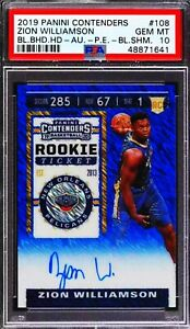 2019-20 Contenders Blue Shimmer Zion Williamson RC Rookie Ticket AUTO /20 PSA 10
