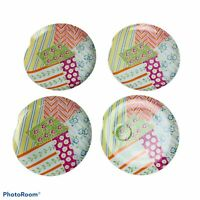 "Taste Setter Patchwork Snack Plates Lot of 4 Pastel Multicolored Patterns 9"""