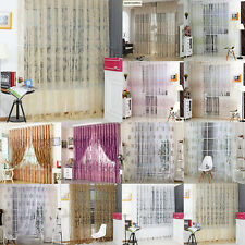 Modern Voile Floral Embroidery Sheer Window Drape Flocking Curtains Home Decor