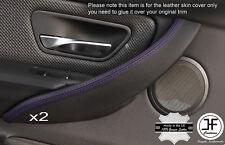 Viola Stitch 2x MANIGLIA PORTA ANTERIORE in pelle trim copre si adatta BMW f30 f31 12-16