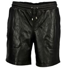 Men's Real Leather Shorts Long Shorts with Drawstring Leather Shorts