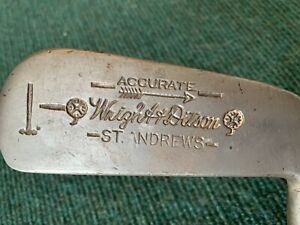 """RARE VINTAGE Wright & Ditson St. Andrews Accurate Hickory Shaft Putter - RH,34"""""""