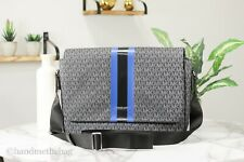 Michael Kors Cooper Signature Black & Atla Blue Stripe Leather Messenger Bag