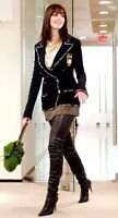 ICONIC Chanel 2005 A Thigh High Black Leather Logo Runway High Heel Boots 5 35
