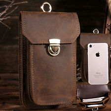 Vintage Retro Men's Genuine Leather Belt Hook mini Fanny Wasit Bag Phone Pouch