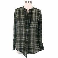 BANANA REPUBLIC Women's Green Sheer Plaid Long Sleeve Blouse NWT Small