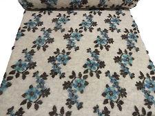 ☻ Stoff Ital. Musterwalk Walkloden Relief Blumen beige türkis blau anthrazit ☻