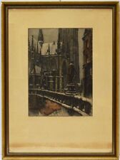 Farbradierung Monogramm H. K. 1933 Kirche Gotik gotisch Kathedrale 53 x 39 cm