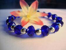 Faceted Saprkling Saphhire Cobalt Blue Crystal Beaded Silver Stretch Bracelet