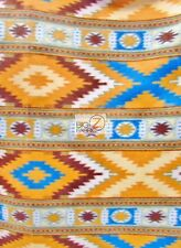 "AZTEC/INDIAN POLAR FLEECE FABRIC - Indian Blue/Dark Yellow - 60"" WIDTH BTY 846"
