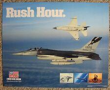 Air National Guard 1990 F-16 Recruitment Poster - Rush Hour Aviation Aircraft