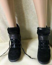 Wedge Sneakers MARINA RINALDI Woman, black, size 40, suede Scarpe camoscio Donna