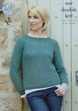 KNITTING PATTERN Ladies Long Sleeve Round Neck Lacy Jumper DK King Cole 4269