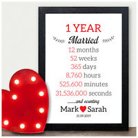 PERSONALISED Wedding Anniversary Gifts 1st 10th 25th 30th 40th 50th Anniversary