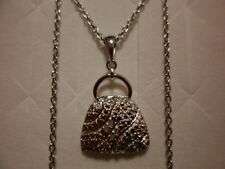 Sterling w/Stainless Chain 20�-0.02 Carats Diamond Accent Purse Pendant in 925