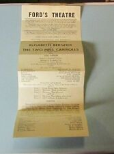 1946 Ford's Theatre The Two Mrs. Carrolls Handbill Elizabeth Bergner Joel Ashley