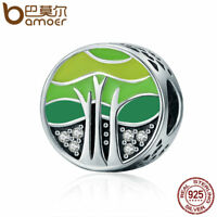 BAMOER S925 Sterling silver charm Spring Tree with AAA Zircon For Women bracelet