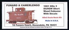 LMH Funaro F&C 1001 HOn3 D&RGW Denver & Rio Grande Western CABOOSE Short Wood