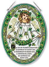 "AMIA STAINED GLASS SUNCATCHER 6.5"" X 9"" OVAL ST. PATRICK'S DAY ANGEL  #5828"
