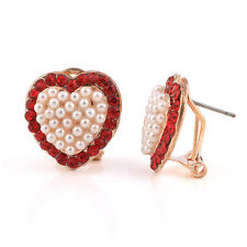 Romantic Love Red White Pearls Cluster Hearts Studs Crystal Earrings E538