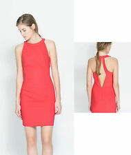 ZARA Coral Pink Halterneck Cut Out Back Gorgeous Mini Pencil Dress size LARGE