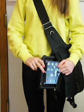 "Black Crossbody Messenger Bag for iPad Tablet Netbooks up to 10.1"" Case"