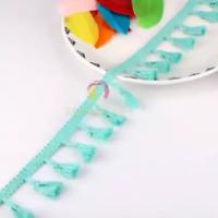 Green 4cm Trim Tassel Fringe Cotton Lace Ribbon Price per 30cm DIY Craft
