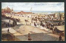 Rhyl Parade Pavilion and Lifeboat 1924 busy street view old vintage postcard