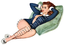 Sexy Lounging Retro Pinup Girl Waterslide Decal Sticker S570