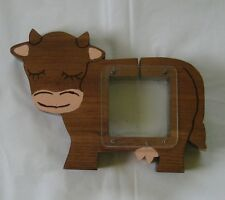 Cute Handmade Wooden Cow Bank