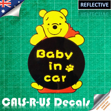 Disney Winnie the Pooh Baby in Car Decal Sticker. Reflective Vinyl.