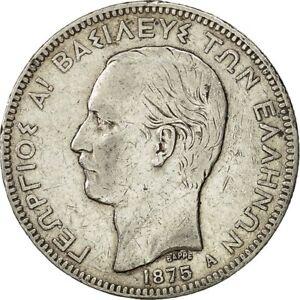 [#481395] Greece, George I, 5 Drachmai, 1875, Paris, VF(30-35), Silver, KM:46