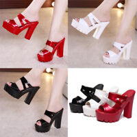 Sexy Women UP High Block Heel Slip On Sandals Peep Toe Platform Wedge Mule Shoes