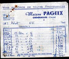 """CHENERAILLES (23) VINS en gros """"Maison PAGEIX"""" Conso de 1949 à 1955"""
