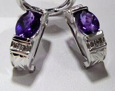 14 K White Gold Oval Deep purple Amethyst & White diamonds Earrings Vintage look