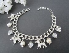 Beagle Puppy Dog Charm Bracelet with Freshwater Pearls & Swarvosky Crystals