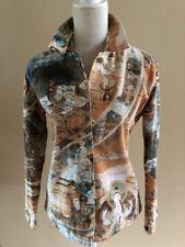 CHICOS DESIGN Women's Jean Jacket Size 0 'Enlightened' Print (Size S) EUC