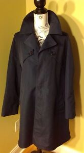 Misty Harbor Navy Blue Men's Rain/Trench Coat Size ? (Measurements Provided)