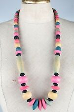 Vintage lange Kette Halskette große bunte Holzperlen 80er Jahre 80s rosa schwarz
