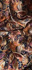 Navy Orange Pink Paisley Floral American Crepe Fabric 45'' PRICE PER METER